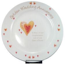 GOLDEN 50TH WEDDING ANNIVERSARY PERSONALISED PLATE Unique & Unusual Gift Idea
