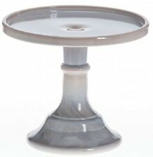 """Cake Plate Pastry Tray Bakers Cupcake Stand - Plain Simple Gray Swirl Glass - 6"""""""