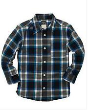 OshKosh B'gosh Plaid Poplin Shirt Boys  Size 4 NWT  Blue Plaid