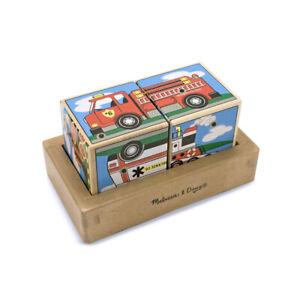 "Melissa & Doug 11272 Sound Blocks Building Bricks "" Vehicles "" with New Wood! #"