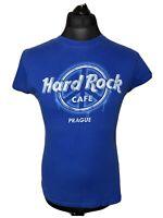 Hard Rock Cafe Prague Retro Women's Blue T Shirt Tee L Large