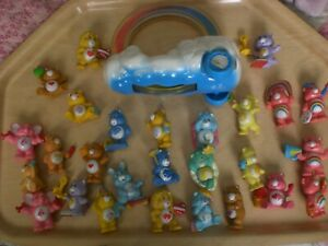 VINTAGE 1980's  27   CAREBEARS  MINI  FIGURES + CLOUD RAINBOW CAR