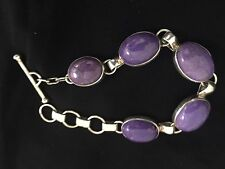 Native american sterling silver Charoite  Link  bracelet  8 Inches Signed
