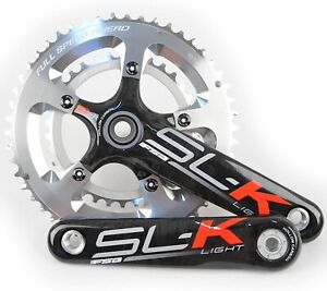 FSA SL-K Light BBright Carbon Road Bike Crankset 50/34 10 Speed 170mm Silver