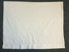 More details for vintage white 100% cotton fine muslin whitework embroidered pillow case