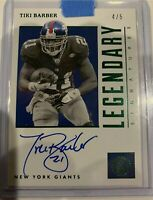 2019 Panini Encased Football Tiki Barber On Card Auto 4/5 Very Rare