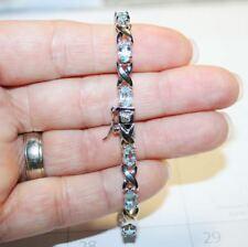 Blue Topaz X O Infinity Tennis Bracelet 14k White Gold over 925 SS Gift Box