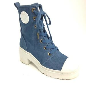 Michael Kors Women's Denim Blue Bootie Combat boot Size 6.5