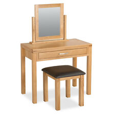 Abbey Light Oak Dressing Table Set / Modern Oak Set with Stool & Mirror / New