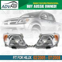 Set / Pair LH+RH Head Light Lamp For Toyota Hilux Ute 2005~2008 2WD 4WD AU STOCK