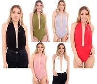 New Womens Ladies Plunge Halter Neck Back Less Leotard Bodysuit Top UK 8-14