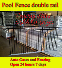 Double rail Pool Fencing in Aluminium. Black 2.4x1.2 high. OR Front Fence