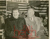 Vtg Original Press Photo President Dwight & Mamie Eisenhower 8x10 Lawrence,MA