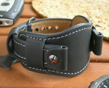 Black genuine leather wristwatch strap band men watch bund strap 16mm - 22mm