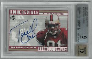 Terrell Owens signed 1999 Upper Deck Inkredible Card- BGS Graded 9/Autograph 10