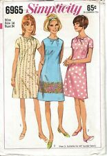 Vtg Simplicity 6965 1960 60s Pattern Dress Shift Mini Short Sleeves B34 14