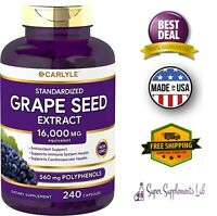 GRAPE SEED EXTRACT 16000 mg Equivalent 240 Capsules Maximum Strength Gluten Free