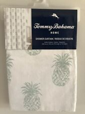 Tommy Bahama Tropical Aqua Pineapple Cotton Twill Shower Curtain 72 x 72 New