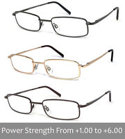 Man Woman Metal Frame Clear Lens Reading Vision Glasses - Up to +6.00 RE88