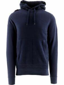 MA.STRUM Men's Core Overhead Hoodie Cotton Navy Casual Warm Pullover Sweatshirt