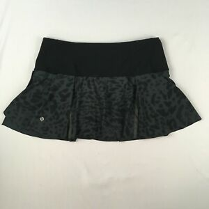 LULULEMON leopard print Skort skirt shorts WOMENS 8 grey black yoga running