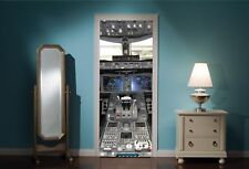 Door Mural Airplane Cockpit View Wall Stickers Decal Wallpaper 141