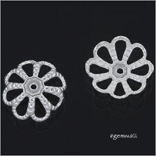 2 Sterling Silver Flower Bead Cap 10mm #51791