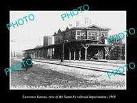 OLD LARGE HISTORIC PHOTO OF LAWRENCE KANSAS, THE SANTA FE RAILROAD DEPOT c1910