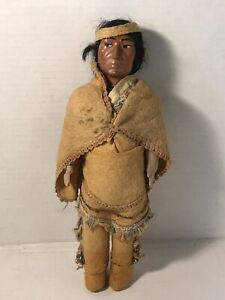 skookum native american doll chief medicine man vtg celluloid bisque v2355