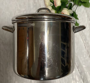 Revere Ware Tri-Ply Heavy Bottom 10 Qt Stainless Steel Stock Pot W/ Lid,Clinton