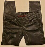 Sisley Womens Jeans Sz 8 Skinny Coated Black Stretch Cotton Italy 32x28 IT42