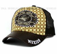 HECHO EN MEXICO Straw Woven Hat Metal Patched Mesh Snapback Baseball Cap- Brown