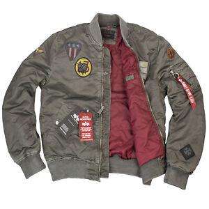 Alpha Industries Herren MA-1 Air Force Jacke Battlewash Stone Grau Fliegerjacke