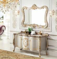 Waschtisch Barock Marmor Gold Badmöbel Unterschrank Spiegel Set 2 Tlg.