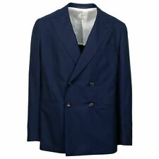 NWT CARUSO Blue Wool Double Breasted Sport Coat Size 54/44 C Drop 8
