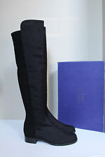 sz 10.5 M Stuart Weitzman 50/50 Black Pindot Over the Knee Low Heel Boot Shoes