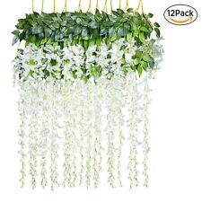 12Pcs Artificial Silk Flower Wisteria Vine Hanging Garland Garden Wedding Decor