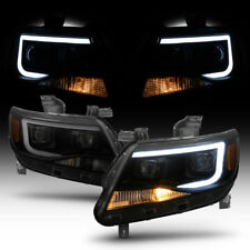 Blk Smoke 2015-2018 Chevy Colorado LED Tube DRL Dual Square Projector Headlights