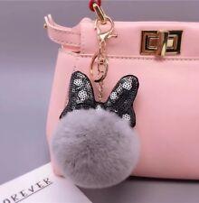 Black Rabbit Fur Key Chain Pom Pom Ball Fashion Purse Punk Phone Pendant Charm