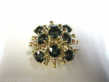 VINTAGE 14K YELLOW GOLD & SAPPHIRE GREEN WOMEN'S DRESS COCKTAIL RING SIZE 6.75