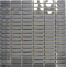 Mosaik silber silver Edelstahl glänzend Fliesenspiegel 129-1548G|10Matten