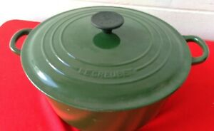 LE CREUSET #28 GREEN Cast Iron Enamel Round Dutch Oven W/ Lid 7.25 Qt