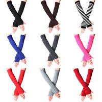 Women Cotton Classic Fingerless Long Gloves Wristband Arm Warmer Long Sleeve