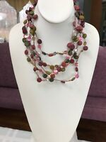 Vintage Bohemian Wood Beaded Pink Sequin Necklace Red Green Pink Olive