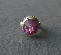 SOLID 925 STERLING SILVER HUGE PINK TOPAZ RAISED RING SCROLL  SIZE M 1/2