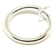 Retractable Clip On Nose Hoop Ring Septum Lip Fake Earring Piercing Silver Tone