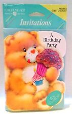 Cupcake Care Bears A Birthday Party Invitations 8 Vtg Child American Greetings