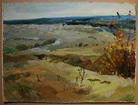Russian Ukrainian Soviet Oil Painting landscape impressionism field panorama