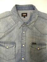 LEE WESTERN DENIM SHIRT MEN'S REGULAR FIT POPPERS LARGE LIGHT BLUE LSHT706