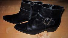 J Jill Womens Sharp Looking Black Ankle Boots w/ Buckle Sz 8